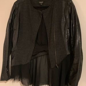 🖤 Faux Leather Jacket with Chiffon Detailing 🖤